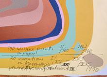 Dieter Roth 12/20 auf Holzfaserplatte, Signatur