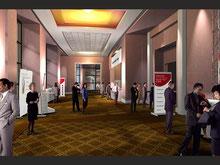 Architektur Visualisierung Aegeri, Innenraum Visualisierung, Innenarchitektur, 3D Interieur Visualisierung Oberaegeri, Hotel, Restaurant, Meeting, 3D Raum, Innenausbau, Foyer, Haus, Gebäude, Center