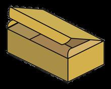 Schachtel mit anhängenden Deckel und 1 Lasche Topload