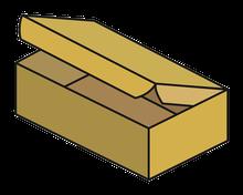 Schachtel mit anhängenden Deckel und 3 Laschen Topload