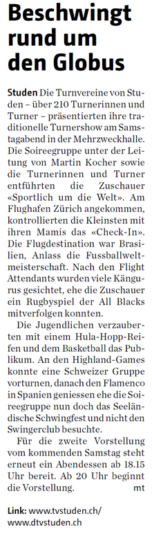 Bericht Bieler Tagblatt Turnverein Studen, Abendunterhaltungen 2014
