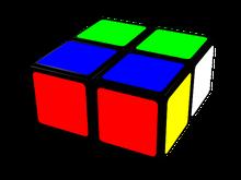 cubo de 2x2x1, piezas agrupadas de dos en dos.