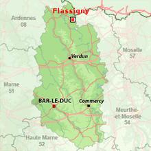 carte de situation du gîte de la fraiseraie à flassigny en Meuse lorraine