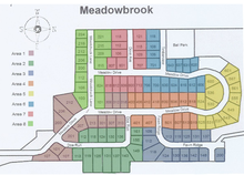 The Association has monthly Board meetings with representatives from the neighborhood.  The Meadowbrook neighborhood is divided into Areas that each have a representative on the Association Board.  This map shows the 8 Areas in the neighborhood.