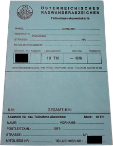 Radwander-Teilnahmen-Ausweiskarte