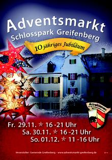 Plakat des Adventsmarkt im Schlosspark Greifenberg 2018