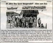 Zeitungsanzeige 20jähriges Jubiläumn