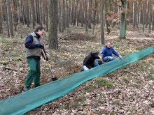 NABU-Mitglieder unseres Regionalverbandes bauen bei Nahmitz einen Krötenschutzzaun auf, Foto: Bodo Rudolph