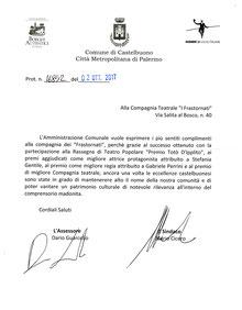 L'Amministrazione Comunale di Castelbuono ringrazia i Frastornati