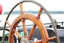 Das Steuerrad des Segelschiffs Fortuna