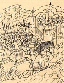 Начало осады Торжка 1238 г. Миниатюра XVI в