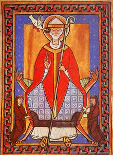 Pape Grégoire VII, miniature du XIIe siècle
