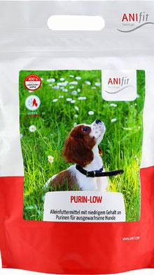 Auf diesem Bild wird das Produkt Purin-Low dargestellt. Hierbei handelt es sich um Alleinfuttermittel für Hunde, die mit einem niedrigen Gehalt an Purinen gefüttert werden sollen. Hierzu zählen Dalmatiner und Hunde, die mit Allopurinol behandelt werden.