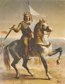 Saint Louis au départ de la septième croisade. Tableau d'émile Signol - Château de Versailles. Temple de Paris