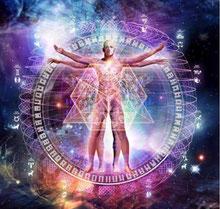 Un homme nu debout bras écartés sur fond d'univers et à l'intérieur de la roue zodiacale et des 2 triangles inversés