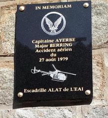 Plaque en mémoire du capitaine Ayerbe et du major Berring à Olette-Evol le 2 octobre 2021 aaalat-languedoc-roussillon.fr