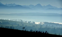 Traumhafte Sicht von der höschsten Gemeinde im Aargau (Bettwil 678m) Richtung Alpen