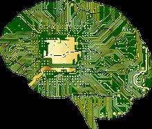 Gehirn mit Computerchip