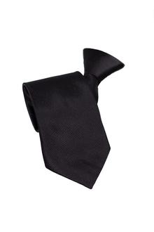 Een zwarte en viscose stropdas met een koordstopper.