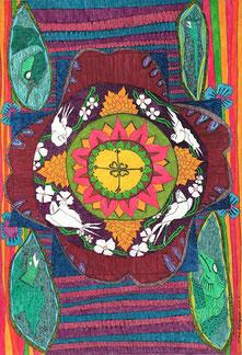 虹色な人生を 18x16cm 銅板画・手彩色