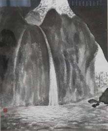 「洞窟に響く涼」 水墨画 F8号