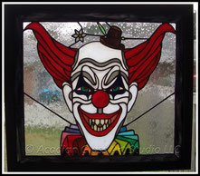 Original Acadian Glass Art Studio LLC Scary Clown Stained Glass Panel