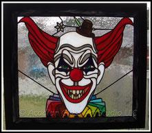 Original Acadian Glass Art Studio LLC Scary Clown Stained Glass Panel