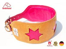Windhundhalsband in der Farbe cognac mit Sternen in pink gepolstert Bolleband