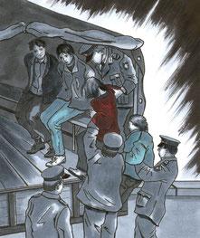 Vopos transportieren am 7.Oktober '89 Demonstranten ab.Todesstreifen-Aktionen gegen die Mauer in West-Berlin 1989