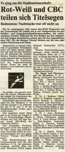 WZ vom 15.02.1991 Wuppertaler Stadtmeisterschaften Jugend Einzel