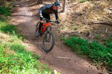 e-MTB Fahrer fährt mit seinem Bike den Trail im Wald herunter