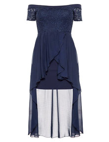 blaues elegantes Cocktailkleid in übergröße , blaues Abendkleid für mollige Frauen