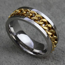 Edelstahlring silber Kette gold