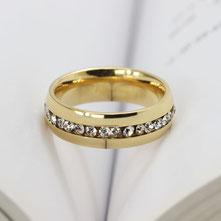 Edelstahlring gold Steine