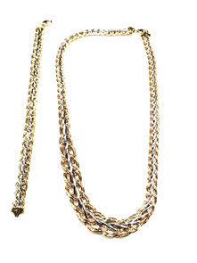 Parure da donna in oro bicolore in oro giallo e bianco 18 kt  collana e bracciale - Istanti di gioia