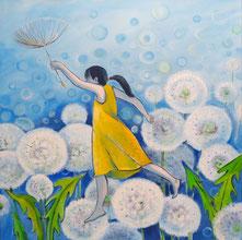 Ein Pusteblumenfeld vor blauem Hintergrund. Davor hüpft ein Mädchen mit schwarzem Zopf und gelbem Kleid und einem Samen in der Hand durch das Bild.