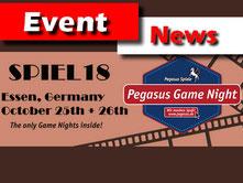 Spiele News von Pegasus: Game Night auf der SPIEL'18 in Essen