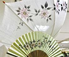 日傘 扇子 母の日 ギフト クレマチス 麻日傘