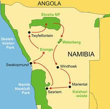 Karte Namibia geführte Reise 12 Tage ab/bis Windhoek