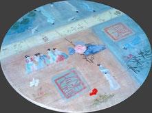 """plateau de table basse peint façon """"chinoiseries"""