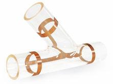 Glas-Formteile, Rohrabzweigstück Glas 45°, Glasabzweig 45°