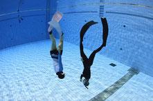 ドルフィンスイム,スキンダイビングプール練習会で泳ぐドルフィンスイマー