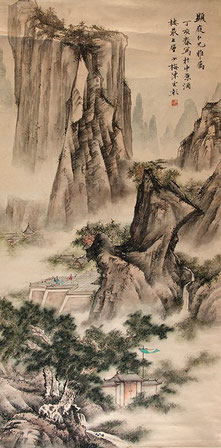 """(предположительно) Chen Yunzhang, """"Пейзаж"""", тушь на бумаге, 124 х 62 см, 1947"""