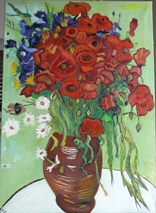 POPPIES AND OTHER WILDFLOWERS, VINCENT VAN GOGH,OIL ON CANVAS, 50X70 CM, YEAR 2014