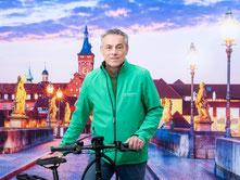 Wolfgang Schaefers aus dem Team des Lastenfahrrad-Zentrums Würzburg