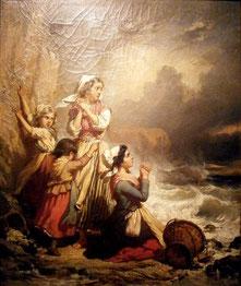 Eugène Delacroix - Ramasseuses de coquillages surprises par la marée.