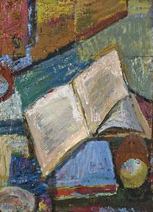 Wolfram Hänsch,   Helles Buch,  2012,  Öl auf Papier auf Maltafel, 38,5 x 28 cm