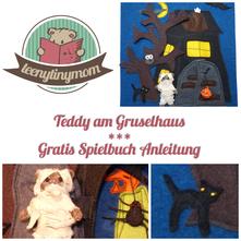 Gratis Spielbuch Quiet book Anleitung Teddy auf Weltreise Halloween