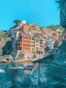 Riomaggiore, Cinque Terre, Hafen, Ligurien, Italien, Fünf Dörfer