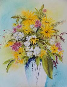 Sommerblumenstrauß gelbe Blüten Pastellkreide